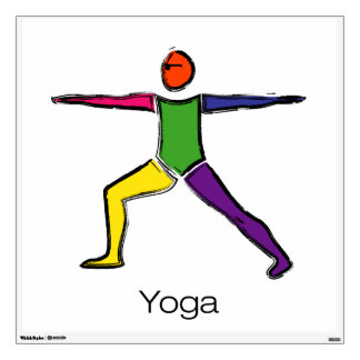 Painting of Warrior 2 yoga pose with yoga text. Wall Decal