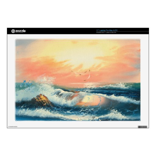Painting Of Waves At A Beach Decal For Laptop