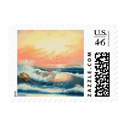 Painting Of Waves At A Beach Postage Stamp