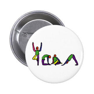 Painting of yoga poses spelling YOGA. Pinback Button