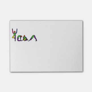 Painting of yoga poses spelling YOGA. Post-it® Notes