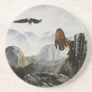 Painting on Coaster Eagle and Indian