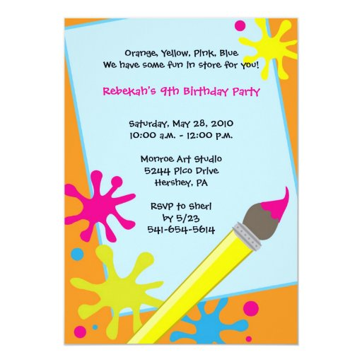 Painting Party Easel Invitations