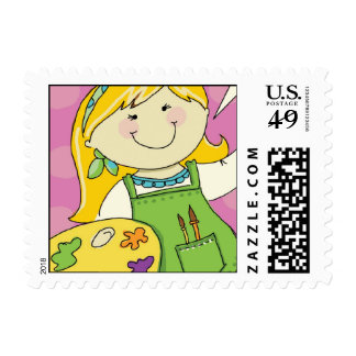 Painting Party Girl Postage Stamps