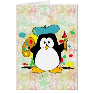 Painting Penguin Painter Card