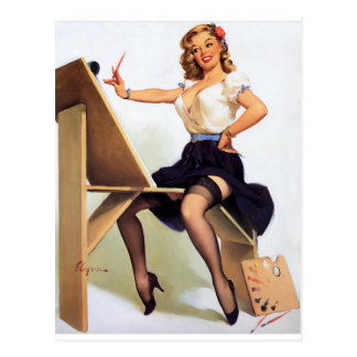 Painting Pin Up Postcard