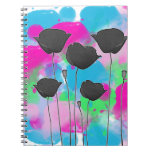 painting poppy spiral notebooks