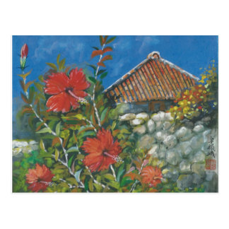 Painting Postcard Hibiscus and Okinawan House