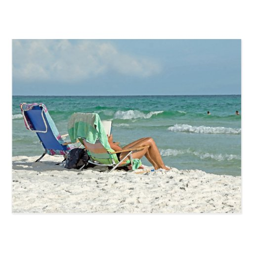 Painting Print Relaxing On The Beach Postcard