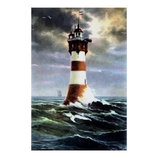 Painting Roter Sand lighthouse Weser Germany Poster