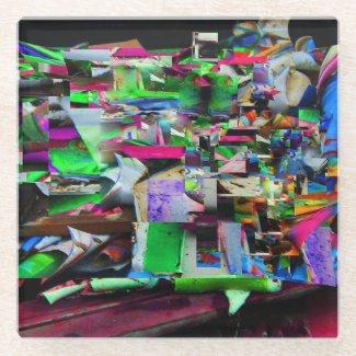 painting Scraps Photo Digital Art Glass Coaster