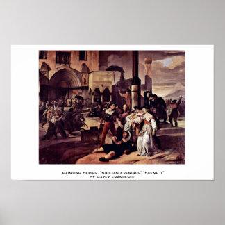"Painting Series, ""Sicilian Evenings"" ""Scene 1"" Poster"
