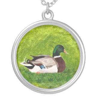 Painting Sitting Mallard in Grass Necklace
