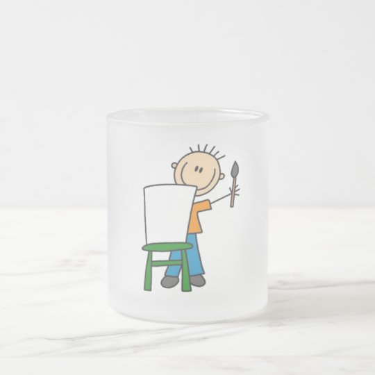 Painting Stick Figure Frosted Glass Coffee Mug