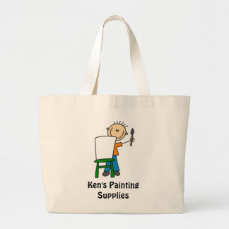 Painting Stick Figure Large Tote Bag