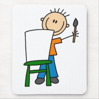 Painting Stick Figure Mouse Pad