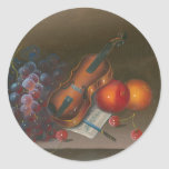 Painting Still Life Of Fruit And Violin Classic Round Sticker