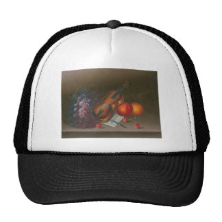 Painting Still Life Of Fruit And Violin Mesh Hat