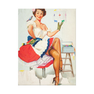 Painting the Birdcage Pin Up Art Canvas Print