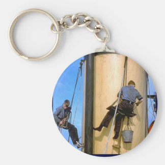 Painting the mast aboard TS Arethusa Basic Round Button Keychain