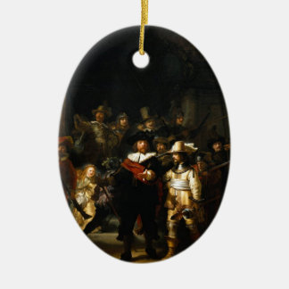 Painting The Night Watch by Rembrandt van Rijn Ceramic Ornament