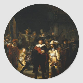 Painting The Night Watch by Rembrandt van Rijn Classic Round Sticker