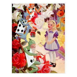 PAINTING THE QUEEN OF HEART S ROSES RED POST CARD