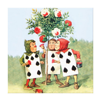 Painting the Queen of Heart's Roses in Wonderland Canvas Print