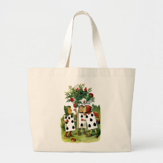 Painting the Queen of Heart's Roses in Wonderland Large Tote Bag