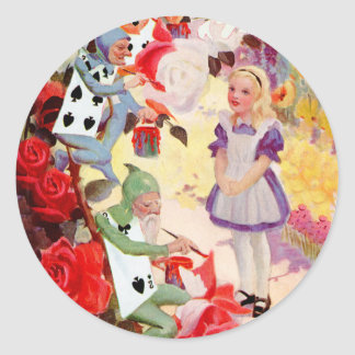 PAINTING THE QUEEN OF HEART'S ROSES RED CLASSIC ROUND STICKER
