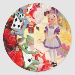PAINTING THE QUEEN OF HEART'S ROSES RED ROUND STICKER