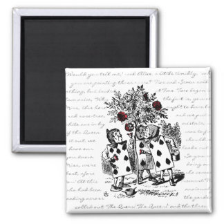 Painting the Roses Red 2 Inch Square Magnet