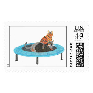 Painting Trampoline Cats 2, postage stamps