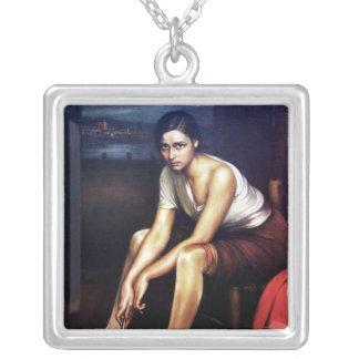 "Painting ""Very small Piconera"" Julio Romero de Tor Square Pendant Necklace"
