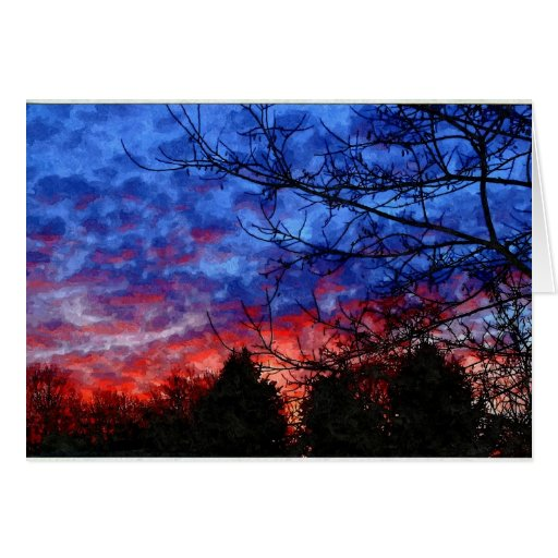 Painting - Winter Sunset in Pennsylvania Greeting Card