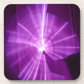 """Painting with Light"" Abstract - Purple Spiral Coaster"