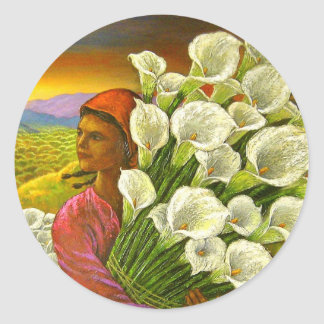 Painting Woman With Cala Lilies Art - Multi Classic Round Sticker