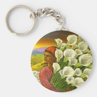Painting Woman With Cala Lilies Art - Multi Key Chain