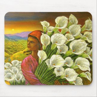Painting Woman With Cala Lilies Art - Multi zazzle_mousepad