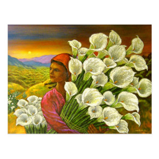 Painting Woman With Cala Lilies Art - Multi Post Cards