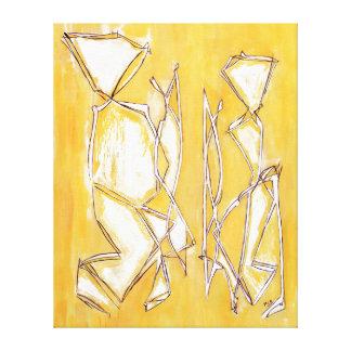 Painting Yellow Abstract Couple in Art  MC Belkadi Canvas Print