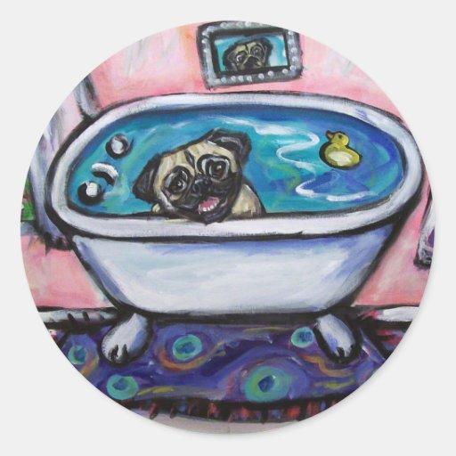 paintingpugpinkbath2 pegatina redonda