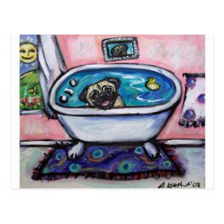 paintingpugpinkbath2 postales
