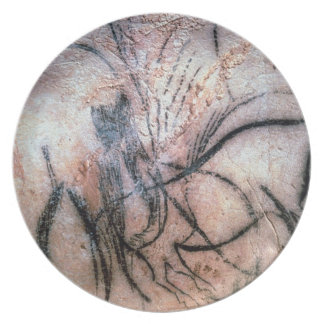Paintings depicting mammoth and cattle, from the C Party Plate