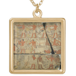 Paintings from the Tomb of Metjetji, from Saqqara, Gold Plated Necklace