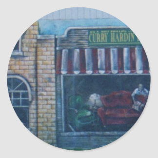 paintings on old building(In okla) Classic Round Sticker