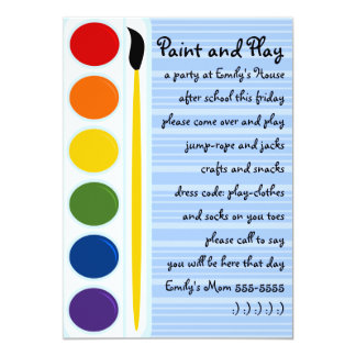 Paints and Brushes 5x7 Paper Invitation Card