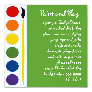 Paints and Brushes 5.25x5.25 Square Paper Invitation Card