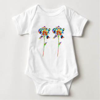 Pair Beautiful FLOWERS Baby Bodysuit