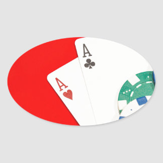 Pair of aces and chips oval sticker